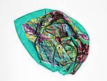 Нюанс 10006-9, павлопосадский шейный платок (крепдешин) шелковый с подрубкой, фото 8
