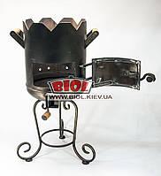 Печь под азиатский (татарский) казан диаметр 29см (толщина 3мм) с коваными элементами высокая (72см)