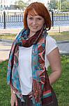 Палантин шерстяной 10219-16, павлопосадский шарф-палантин шерстяной (разреженная шерсть) с осыпкой, фото 3
