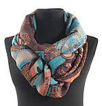 Палантин шерстяной 10219-16, павлопосадский шарф-палантин шерстяной (разреженная шерсть) с осыпкой, фото 10