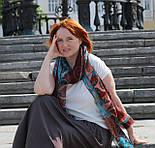Палантин шерстяной 10219-16, павлопосадский шарф-палантин шерстяной (разреженная шерсть) с осыпкой, фото 7