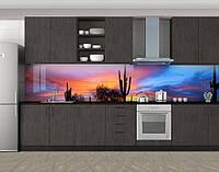 Рассвет в пустыне, Кухонный фартук с фотопечатью, Природа, синий