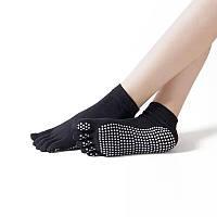 Противоскользящие носки с пальцами для йоги и пилатеса черные