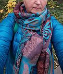 Палантин шерстяной 10219-16, павлопосадский шарф-палантин шерстяной (разреженная шерсть) с осыпкой, фото 9