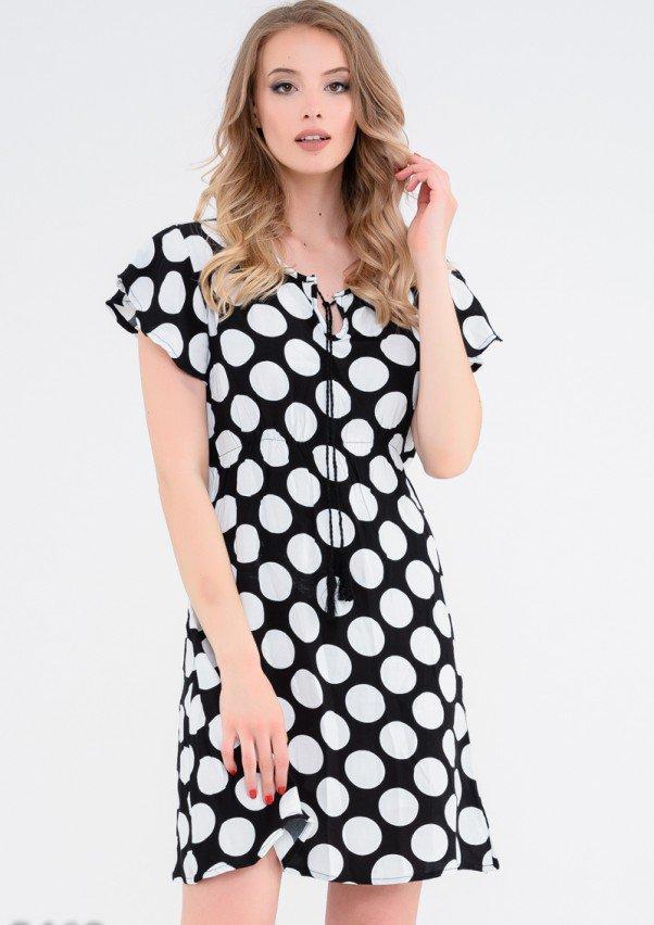330b0891fe3 Платье Черное приталенное в крупный белый горох
