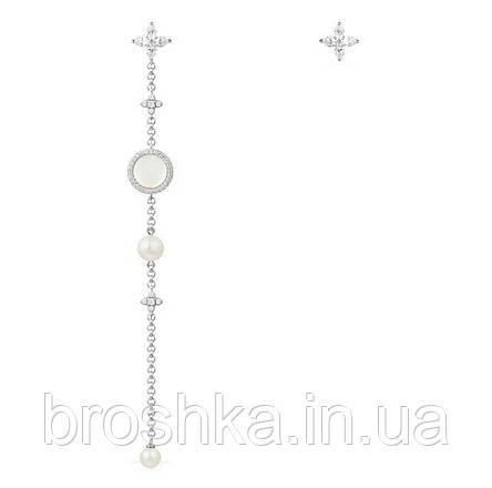 Очень длинные белые асимметричные серьги бижутерия, фото 2
