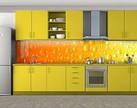 Капли росы, Самоклеящаяся стеновая панель для кухни, Текстуры, фоны, оранжевый