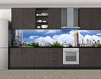 Проект города, Стеновая панель для кухни с фотопечатью, Город днем, голубой