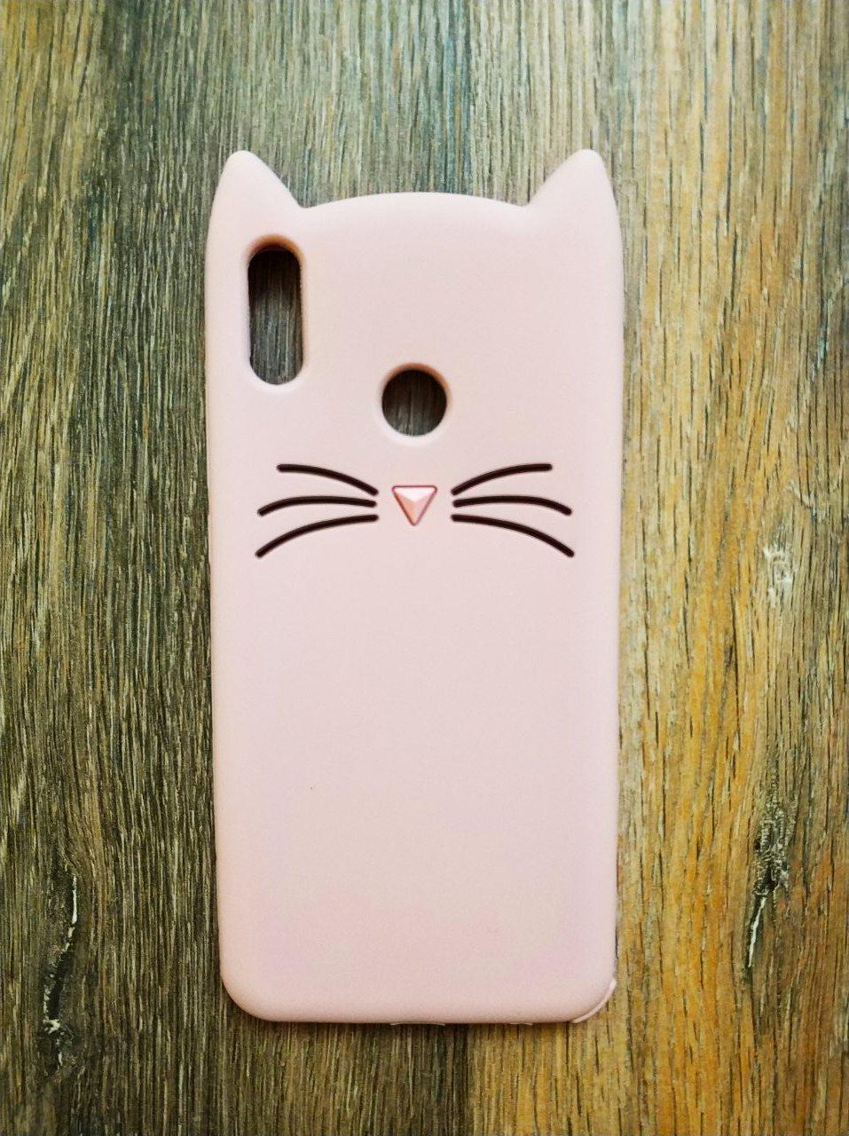 Объемный 3d силиконовый чехол для Huawei Honor 8x Усатый кот розовый