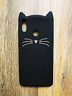 Силиконовый объемный 3d чехол для Huawei Honor 8x Усатый кот черный