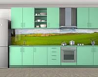 Зеленое поле, Кухонный фартук с фотопечатью, Природа, зеленый