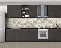 Кухонный фартук Зигзаги, виниловая самоклеющаяся пленка, наклейка на кухню, скинали на стену, Бежевый, 600*3000 мм