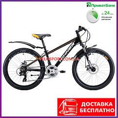 Подростковый велосипед Winner Bullet 24 дюйма черно-оранжевый