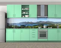 Озеро в горах, горы, Пленка для кухонного фартука с фотопечатью, Природа, зеленый