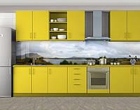Кухонный фартук Озеро в горах, виниловая самоклеющаяся пленка, наклейка на кухню, скинали на стену, Серый, 600*3000 мм