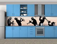 Музыкальные инструменты, силуэты, Самоклеящаяся стеновая панель для кухни, Разное, бежевый