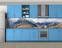 Кухонный фартук Горная гряда горы, виниловая самоклеющаяся пленка, наклейка на кухню, скинали на стену, Серый, 600*3000 мм