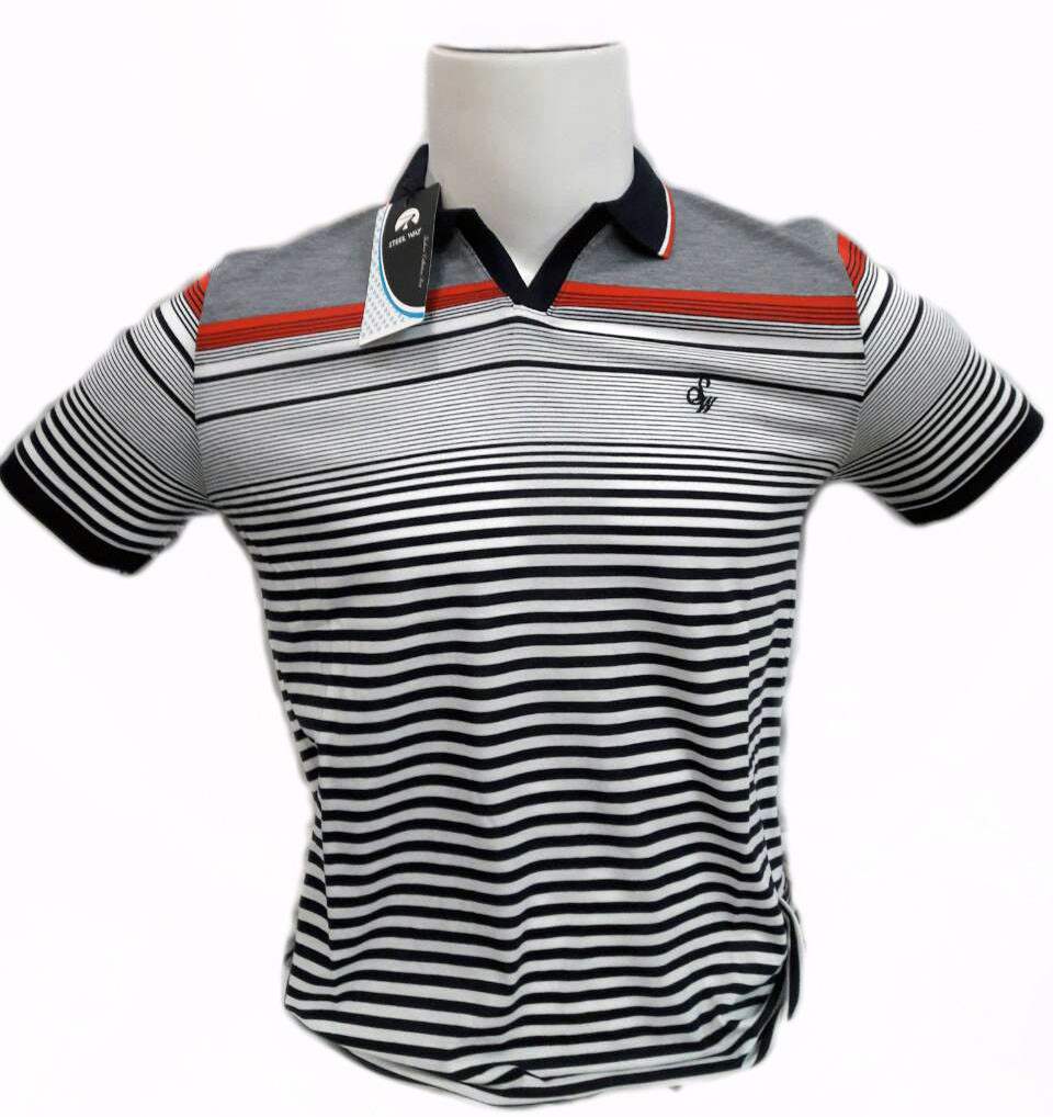Мужская футболка поло STEEL WAY в полоску с красной отделкой производство Турция