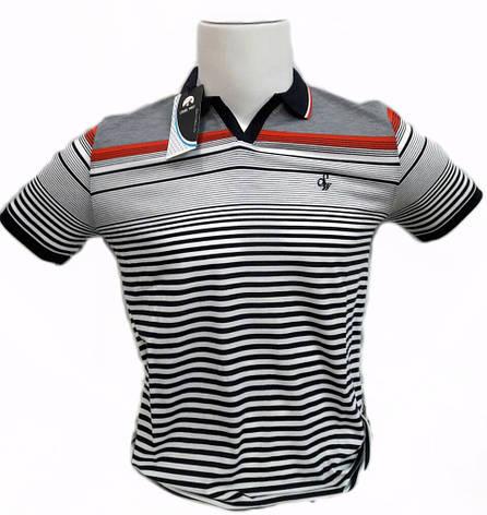Мужская футболка поло STEEL WAY в полоску с красной отделкой производство Турция, фото 2