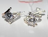 Необычные серьги серебро с золотом Восторг