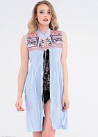 Голубая льняная пляжная туника с цветной вышивкой (M)