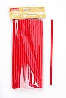 Трубочка пластиковая с изгибом красного цвета L 280 мм (уп 50 шт)