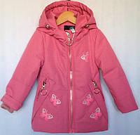 """Куртка детская демисезонная """"Бабочки"""" #Z-935 для девочек 6 мес.-1-2-3-4-5  (80-104см). Розовая. Оптом., фото 1"""