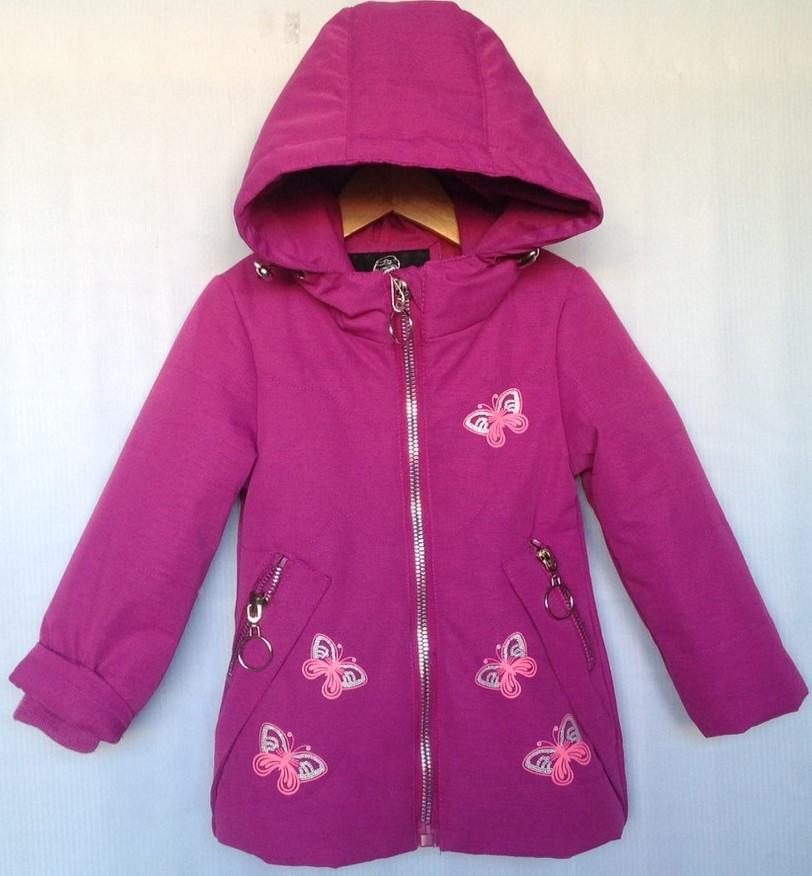 """Куртка детская демисезонная """"Бабочки"""" #Z-935 для девочек 6 мес.-1-2-3-4-5  (80-104см). Сиреневая. Оптом."""