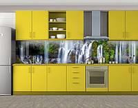 Лесной водопад, Пленка для кухонного фартука с фотопечатью, Природа, зеленый