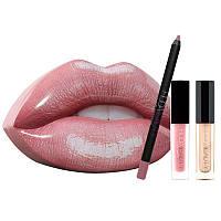 Подарочный набор декоративной косметики в стиле Hudabeauty в виде губ 3в1 нежно розовый - 141156
