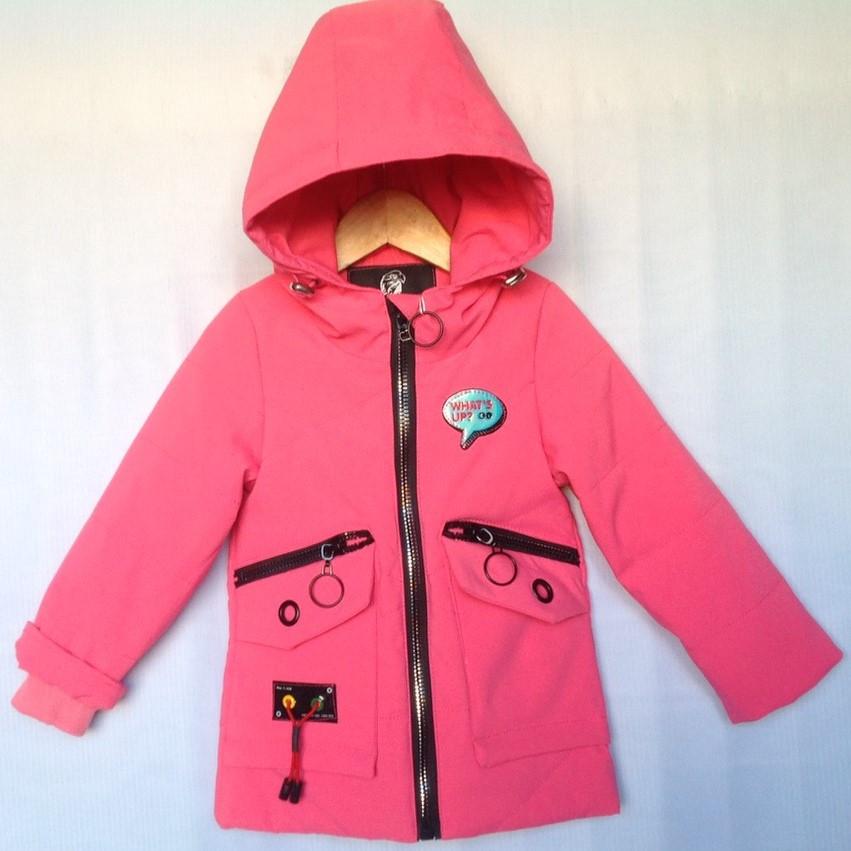 """Куртка детская демисезонная """"Andinaisi"""" #Z-906 для девочек до 3 лет (74-80-86-92-98см). Коралловая. Оптом."""