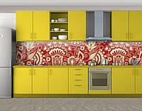 Петриковская роспись, Кухонный фартук на самоклеящееся пленке с фотопечатью, Текстуры, фоны, коричневый