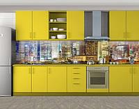 Вечерние огни большого города, Самоклеящаяся стеновая панель для кухни, Город ночью, желтый