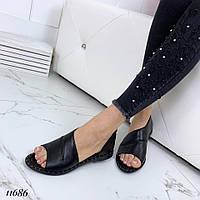 Босоножки кожаные черные на плоском ходу, фото 1