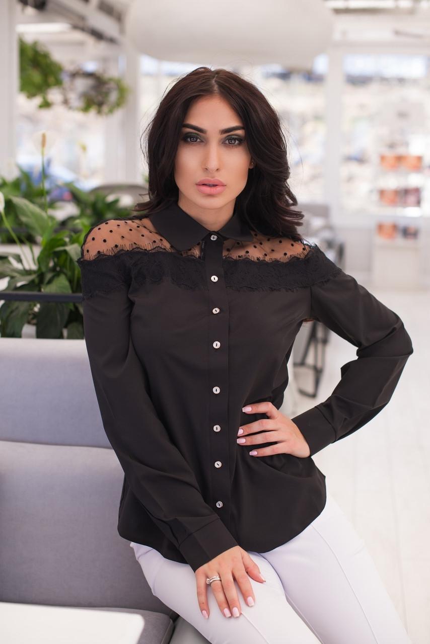 Женская блуза с сеткой и рюшами