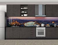 Кухонный фартук Горы город и вечер, виниловая самоклеющаяся пленка, наклейка на кухню, скинали на стену, Фиолетовый, 600*3000 мм