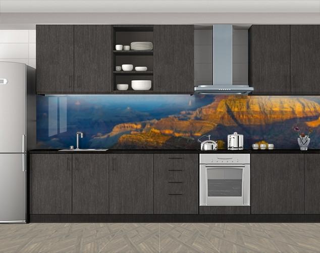 Каменный каньон с высоты, Фотопечать кухонного фартука на самоклейке, Природа, коричневый