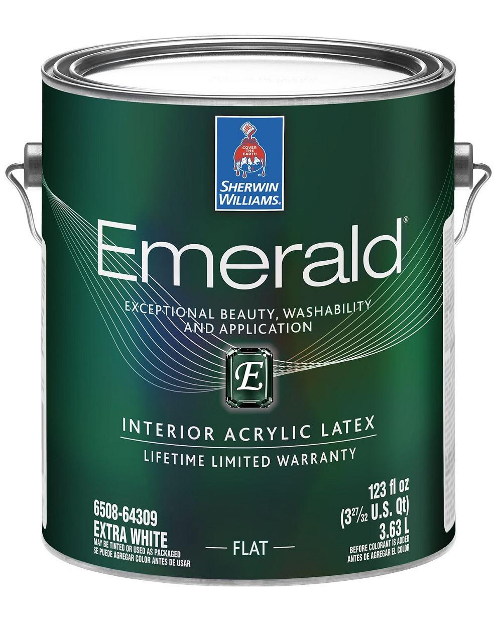 Краска Emerald Flat Sherwin-Williams интерьерная экстра белая глубокоматовая, 3,63л (эмеральд шервин вильямс)