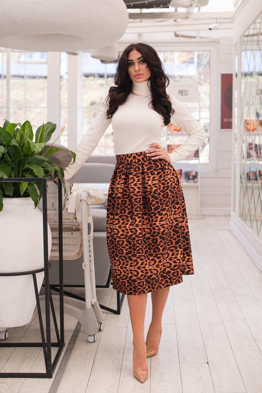 Леопардовая юбка длины миди с карманами