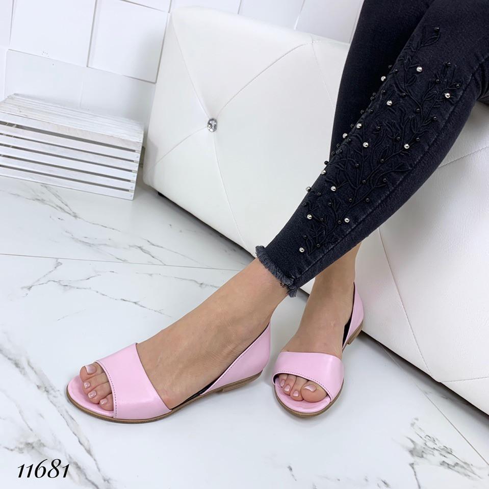 Удобные босоножки кожаные розовые на плоском ходу