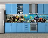Подводный мир рыбки, Фотопечать кухонного фартука на самоклейке, рыбы, голубой