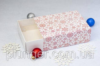 Коробка-пенал універсальна для цукерок, печива, зефіру, мілований картон Сніжинки