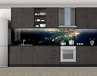 Кухонный фартук Огни города с высоты полета, виниловая самоклеющаяся пленка, наклейка на кухню, скинали на стену, Синий, 600*3000 мм