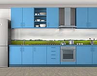 Весеннее поле, Стеновая панель для кухни с фотопечатью, Природа, зеленый
