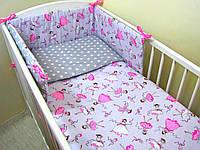 Комплект в кроватку Хатка 11 в 1 Маленькая Принцесса серый с розовым