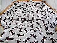 Комплект в кроватку Хатка 11 в 1 Коты бело-черный