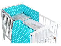 Комплект в кроватку Хатка 11 в 1 Вдохновение бирюзовый с серым