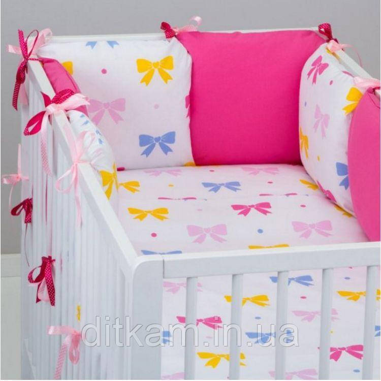Комплект в кроватку Хатка 17 в 1 Бантики розовый