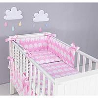Комплект в кроватку Хатка 11 в 1 Слоны розовый