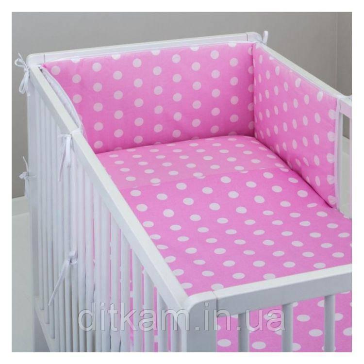 Комплект в кроватку Хатка 11 в 1 Горох на розовом